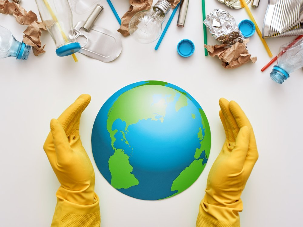 Protect the worlds ecology. Different types of garbage attacked the globe