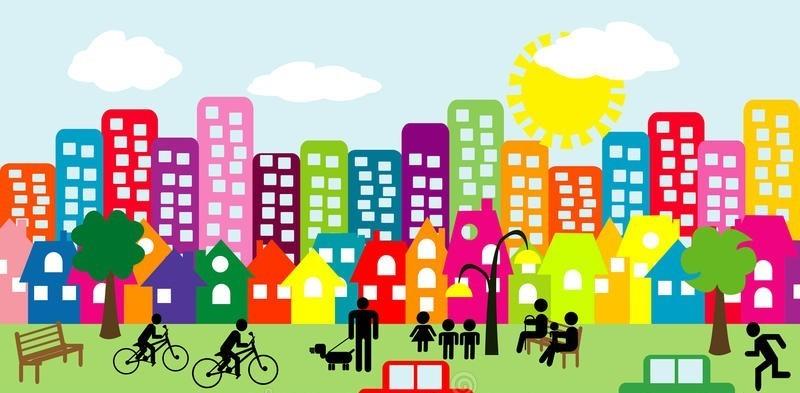 cartoon-city-people-pictograms-block-flats-houses-447881152