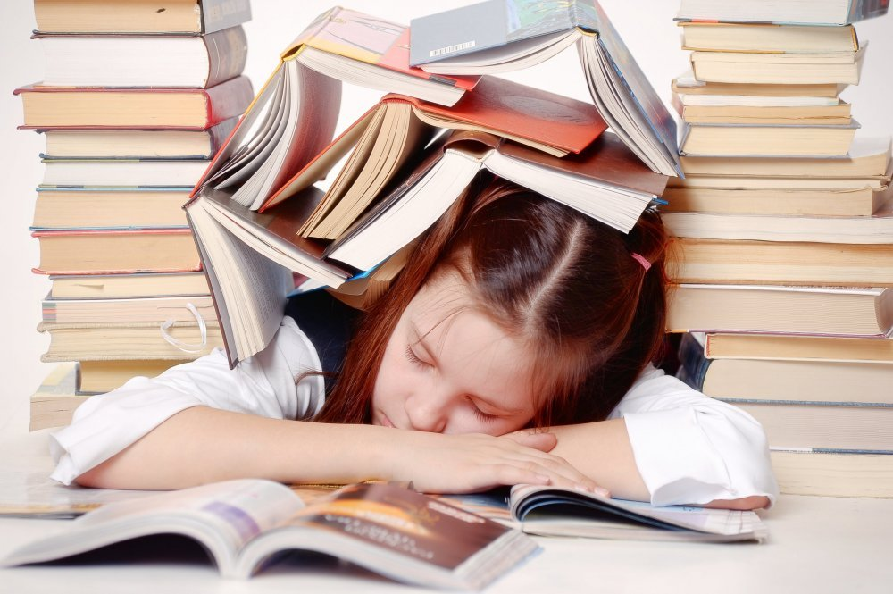 girl tired of studying