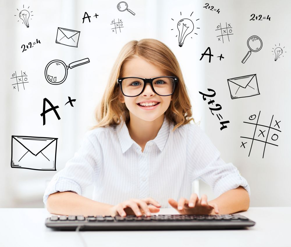 student girl with keyboard