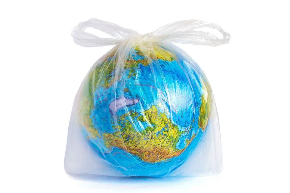 planet Earth  in polyethylene plastic disposable bag