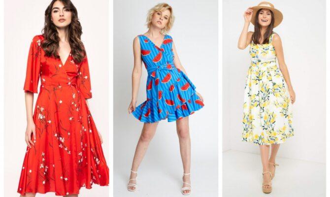 10 modele de rochii cu imprimeuri florale sau cu fructe