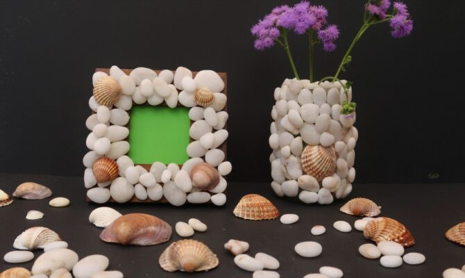 DIY – Ramă foto și vază decorativă, din pietre și scoici